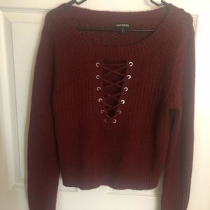 EXPRESS burnt red sweater with tie front L NWOT